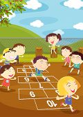 stock photo of hopscotch  - Illustration of kids playing hopscotch in a playground  - JPG