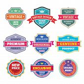 Business Badges Vector Set In Retro Vintage Design Style. Abstract Logo. Premium Quality. Satisfacti poster