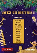 Template Design Poster Christmas Jazz. Design Idea Live Jazz Music Festival Show Flyer Promotion Adv poster