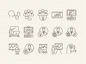 Business Training Icons. Speaker, Group Of Speakers, Training On Screen. Training Concept. Vector Il poster