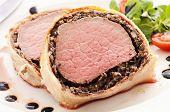 stock photo of beef wellington  - Fillet Wellington salad - JPG