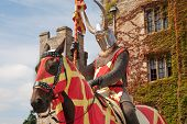 picture of hever  - Knight in beautiful armor outside of Hever castle in England - JPG