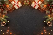 Christmas Gift Boxes On Holiday Background With Fir Branches, Pine Cones. Xmas And Happy New Year Th poster