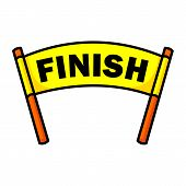Finish Line With Red Textile Banner And Ribbon Vector Illustration Isolated On White Background. Fin poster