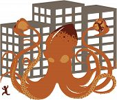 pic of kraken  - Vector giant squid rampaging through a populated city - JPG