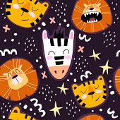 Seamless Pattern With Cute Tigers, Lions, Zebras, Stars, Decor Elements On A Neutral Background. Vec poster