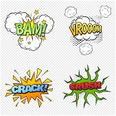 Comic Collection Colored Sound Effects Pop Art Vector Style. Set Comic Bubble Speech Word Comic Cart poster