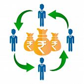 Mutual Fund Icon, Indian Rupee With Businessman, Sharing Economy Concept. Vector Illustration poster