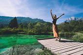 Woman Enjoying Freedom On Nature Outdoors. Travel Slovenia Europe. poster