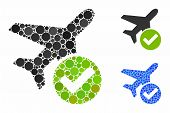 Aircraft Ok Mosaic Of Circle Elements In Different Sizes And Color Tinges, Based On Aircraft Ok Icon poster