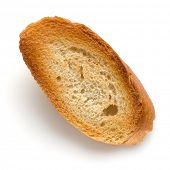 Toasted baguette slice isolated over white background close up.  Toast, crouton. Top view.. poster