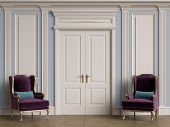 Classic Chairs In Classic Interior With Copy Space.white Walls With Ornated Mouldings And Classic Co poster
