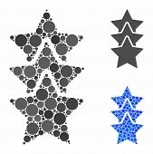 Rating Stars Mosaic Of Spheric Dots In Different Sizes And Shades, Based On Rating Stars Icon. Vecto poster