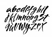 Vector Acrylic Brush Style Hand Drawn Alphabet Font. Calligraphy Alphabet On A White Background poster