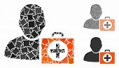First Aid Man Mosaic Of Bumpy Parts In Various Sizes And Shades, Based On First Aid Man Icon. Vector poster