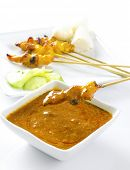picture of sate  - Delicious chicken satay on skewers - JPG