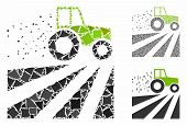 Tractor Dust Field Mosaic Of Joggly Items In Various Sizes And Color Hues, Based On Tractor Dust Fie poster