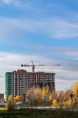 Construction Of A Modern Residential Complex. Residential Complex Otrada, Moscow, Russia poster