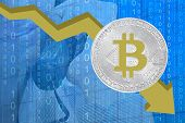 Bitcoin Price Fall Chart. Bitcoins Fall Chart. Bitcoins And New Virtual Money Concept. Biktoken Fall poster