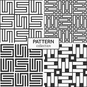 Set Of Four Korean Or Chinese Seamless Patterns. Repeatimg Geometric Symmetric Ornaments. Modern Sty poster