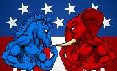 A Blue Donkey And Red Elephant Fighting. American Politics Election Concept With Animal Mascots Of T poster
