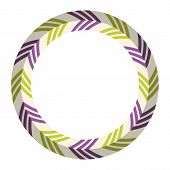 Abstract Circular Geometric Ornament, Stylish Frame With Arrows In One Direction. Round Symmetrical  poster