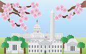 Washington Dc Landmarks With Cherry Blossom poster