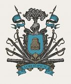 Vector Heraldic Coat Of Arms In Vintage Style With Knightly Shield, Helmet, Spears, Sabers, Swords,  poster