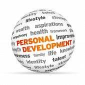 image of self assessment  - 3d Personal Development Word Sphere on white background - JPG