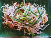 Thai Food Style, Top View Of Stir Fried Rice Noodle With On White Plate As A Background, Ready To Ea poster