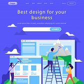 Vector Web Site Design Template. Business Team Building Corporate Site Landing Page. Search Bar. Con poster