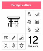 Foreign Culture Line Icon Set. Heraldry, Tower, Traditional Building. Culture Concept. Can Be Used F poster