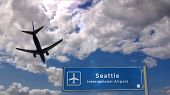 Airplane Silhouette Landing In Seattle, Washington, Usa. City Arrival With International Airport Dir poster
