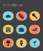 Tourism Icons Set With Key, Meal, Comb And Other Suitcase Elements. Isolated Illustration Tourism Ic poster