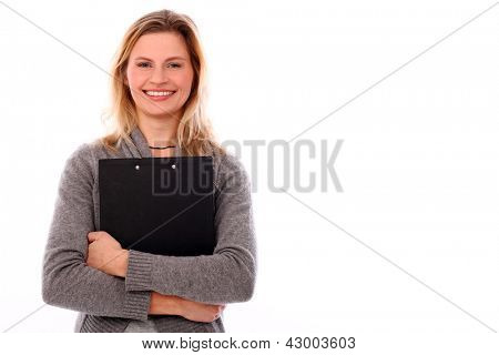 Beautiful caucasian woman with map-case isolated over white background