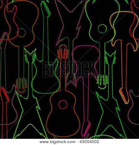 Seamless pattern with guitar silhouettes