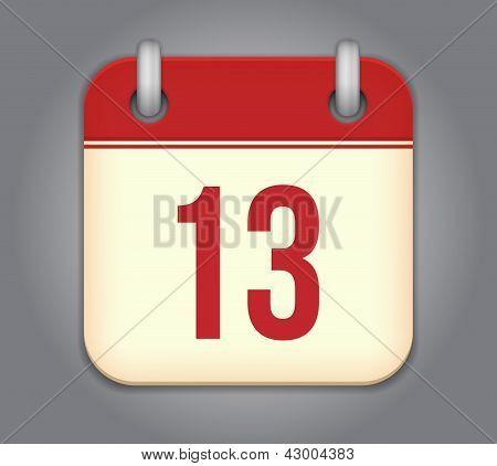 Vector rounded calendar app icon. Contemporary design