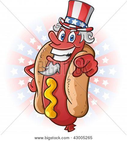 Dibujos animados de tío Sam Hot Dog en el cuarto de julio