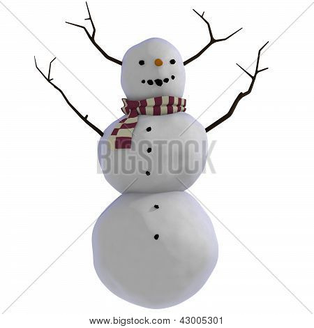 3D Snowman with sticks for antlers