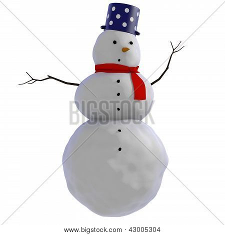 3D Snowman with blue dotted pot and red scarf