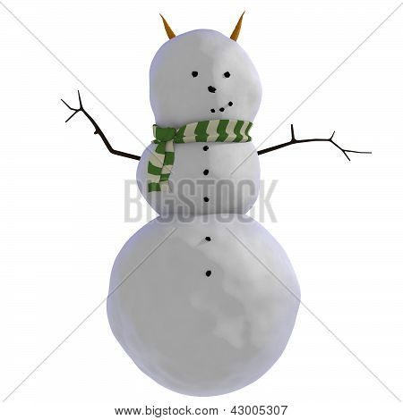 snowman with green and white striped scarf and carrots for horns