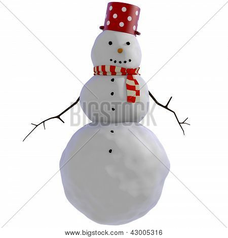 3D Snowman with red dotted pot and red and white striped scarf