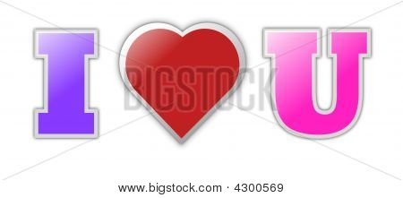 Colorful I Love You Text With Heart Symbol