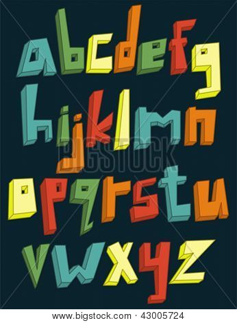 Colorful 3d lower case alphabet set