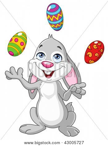 Happy bunny juggling Easter eggs