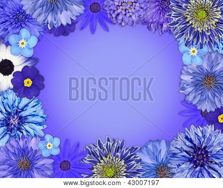 Flower Frame With Blue, Purple Flowers