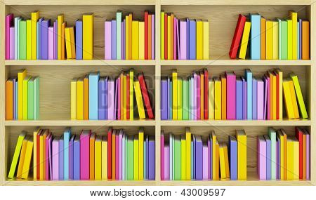 bookcase with multicolored books, 3d render