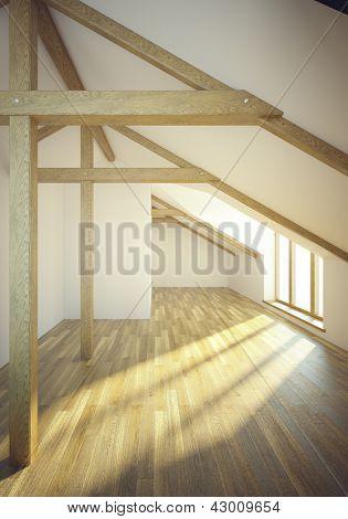 empty mansard room with windows, 3d render