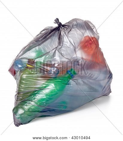 Garbage Bag With Empty Bottle Trash Waste