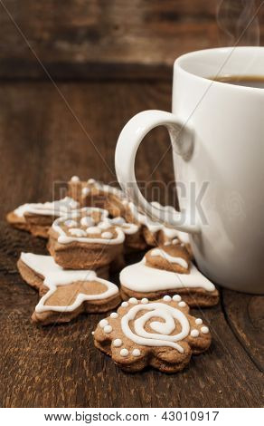 homemade Cookies With A Cup Of Coffee